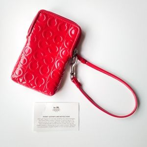 Coach Red Patent Leather Wristlet Wallet